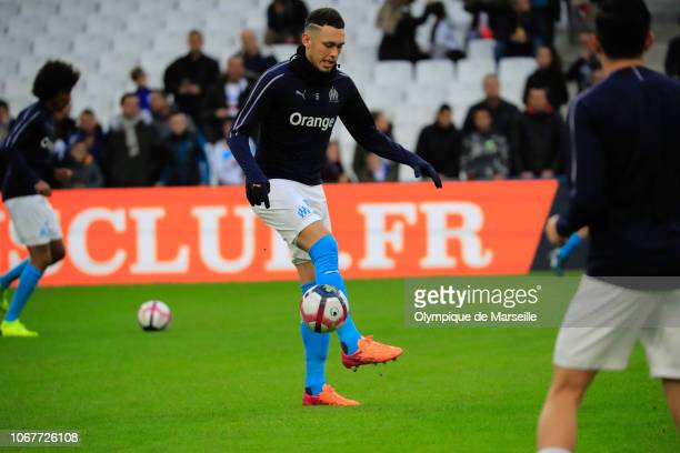 Lucas Ocampos of Olympique de Marseille warms up prior to the Ligue 1 match between Olympique de Marseille and Reims at Stade Velodrome on December 2...