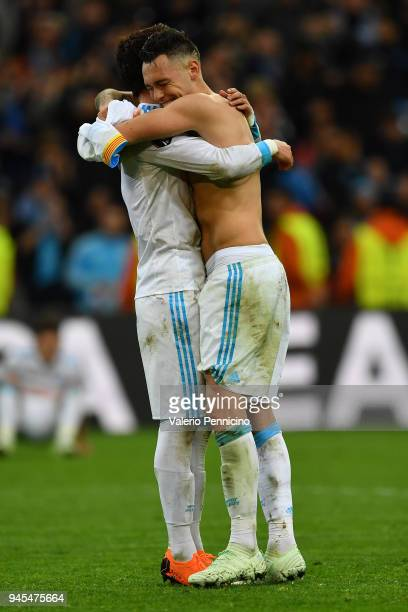 Lucas Ocampos of Olympique Marseille celebrates victory with team mate at the end of the UEFA Europa League quarter final leg two match between...