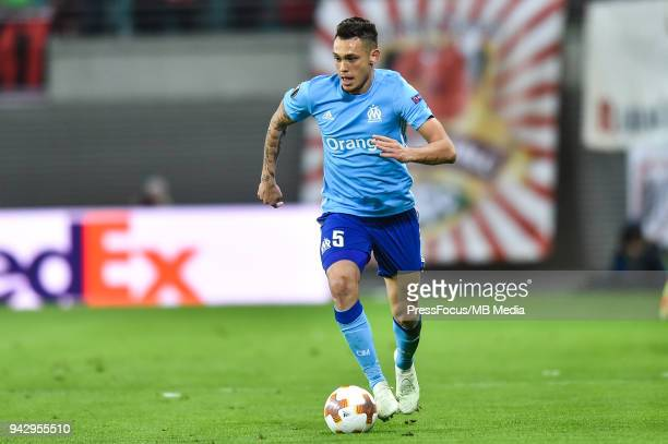 Lucas Ocampos of Olympique Marseille during the UEFA Europa League quarter final leg one match between RB Leipzig and Olympique Marseille at Red Bull...