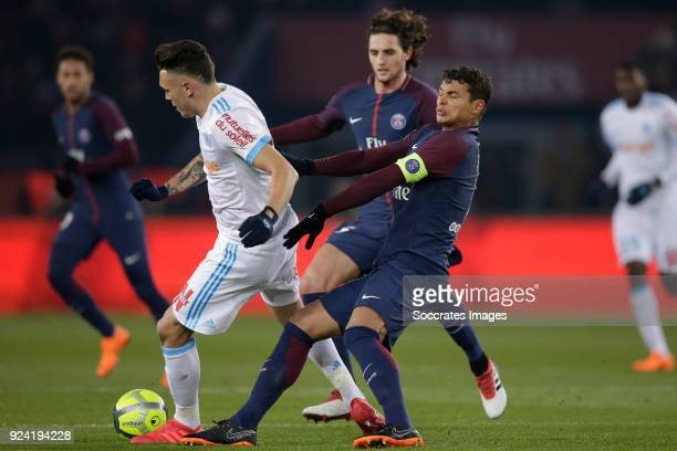 Lucas Ocampos of Olympique Marseille Thiago Silva of Paris Saint Germain during the French League 1 match between Paris Saint Germain v Olympique...