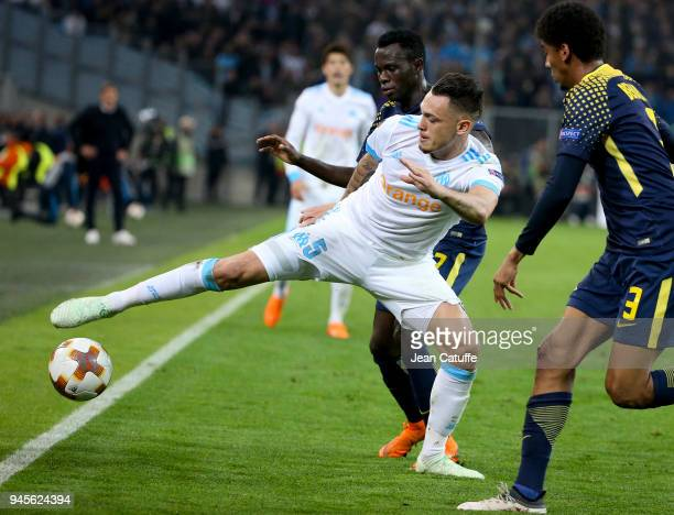 Lucas Ocampos of OM Armindo Bruma of RB Leipzig during the UEFA Europa League quarter final leg two match between Olympique de Marseille and RB...
