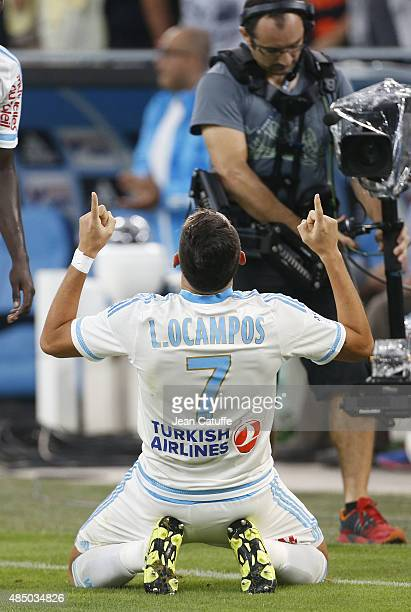 Lucas Ocampos of OM celebrates his goal during the French Ligue 1 match between Olympique de Marseille and Troyes ESTAC at New Stade Velodrome on...