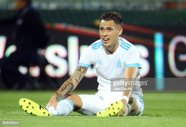 Lucas Ocampos of OM during the UEFA Europa League third qualifying round second leg match between KV Oostende and Olympique de Marseille at Versluys...