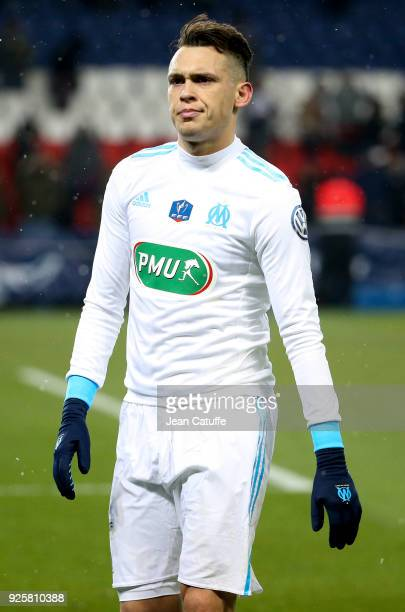Lucas Ocampos of OM salutes the supporters of Marseille following the French National Cup match between Paris Saint Germain and Olympique de...