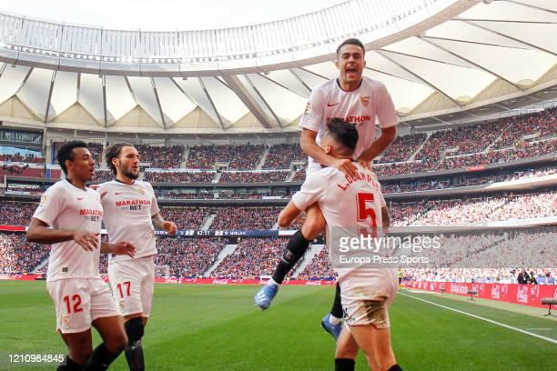 Lucas Ocampos of Sevilla celebrates a goal during the Spanish League La Liga football match played between Atletico de Madrid and Sevilla FC at Wanda...