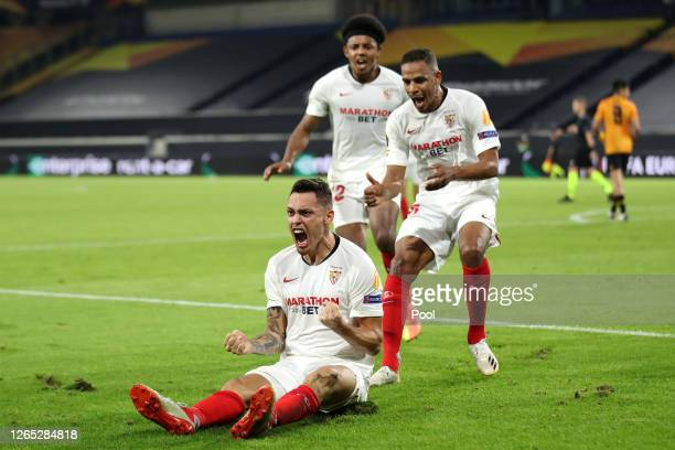 Lucas Ocampos of Sevilla celebrates after scoring his sides first goal during the UEFA Europa League Quarter Final between Wolves and Sevilla at MSV...