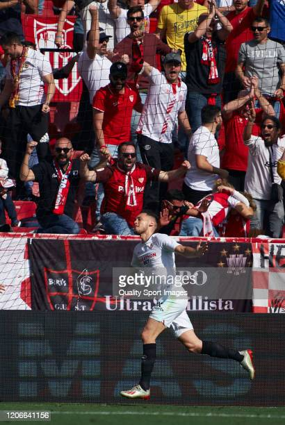 Lucas Ocampos of Sevilla celebrates after scoring his team's first goal during the Liga match between Sevilla FC and RCD Espanyol at Estadio Ramon...