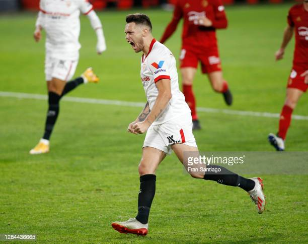 Lucas Ocampos of Sevilla celebrates after scoring his team's first goal during the La Liga Santander match between Sevilla FC and C.A. Osasuna at...