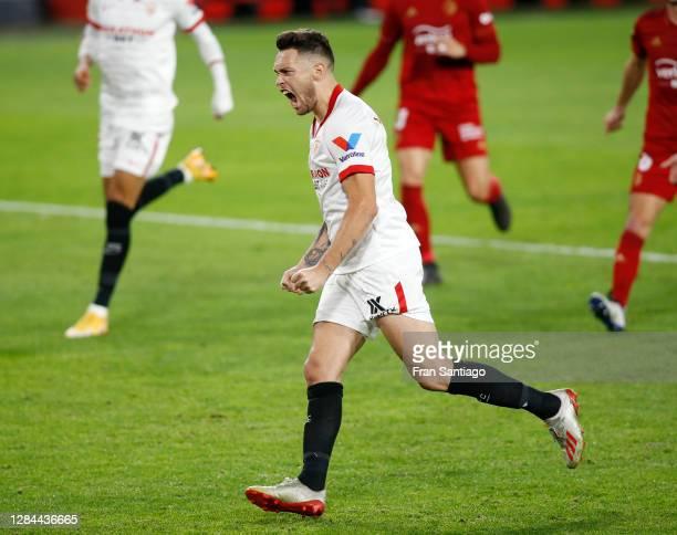 Lucas Ocampos of Sevilla celebrates after scoring his team's first goal during the La Liga Santader match between Sevilla FC and C.A. Osasuna at...