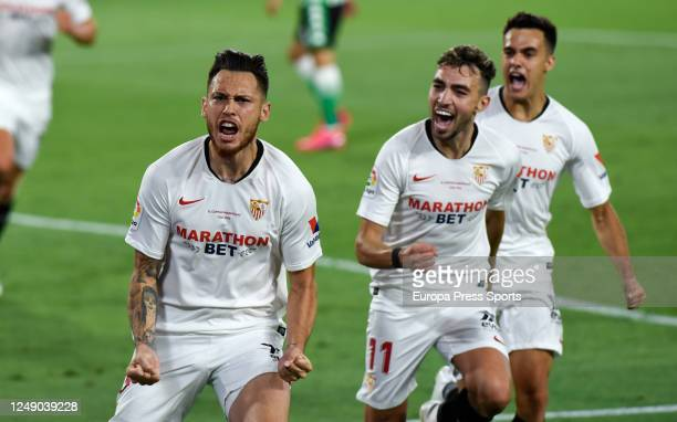 Lucas Ocampos of Sevilla celebrates after scoring the first goal of his team via penalty during the Spanish La Liga football match between Sevilla FC...