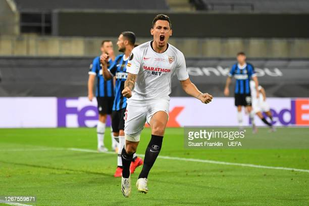 Lucas Ocampos of Sevilla celebrates after teammate Luuk de Jong scores his team's first goal during the UEFA Europa League Final between Seville and...
