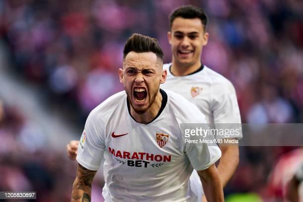 Lucas Ocampos of Sevilla celebrates goal during the Liga match between Club Atletico de Madrid and Sevilla FC at Wanda Metropolitano on March 7 2020...