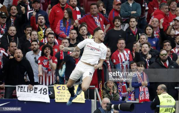 Lucas Ocampos of Sevilla celebrates his goal during the La Liga week 27 match between Atletico Madrid and Sevilla at Wanda Metropolitano Stadium in...