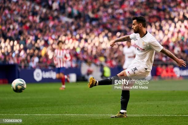 Lucas Ocampos of Sevilla during the Liga match between Club Atletico de Madrid and Sevilla FC at Wanda Metropolitano on March 7 2020 in Madrid Spain