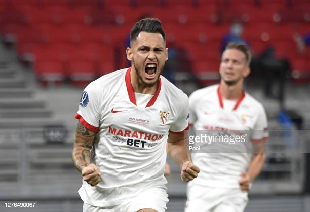 Lucas Ocampos of Sevilla FC after scoring his team's first goal during the UEFA Super Cup match between FC Bayern Munich and FC Sevilla at Puskas...