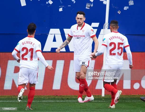 Lucas Ocampos of Sevilla FC celebrates after scoring goal during the La Liga Santander match between SD Eibar and Sevilla FC at Estadio Municipal de...