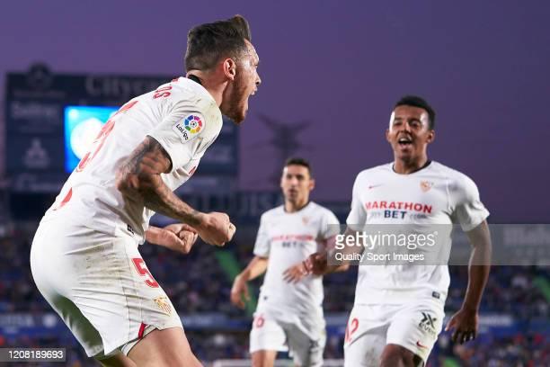 Lucas Ocampos of Sevilla FC celebrates after scoring his team's first goal during the La Liga match between Getafe CF and Sevilla FC at Coliseum...