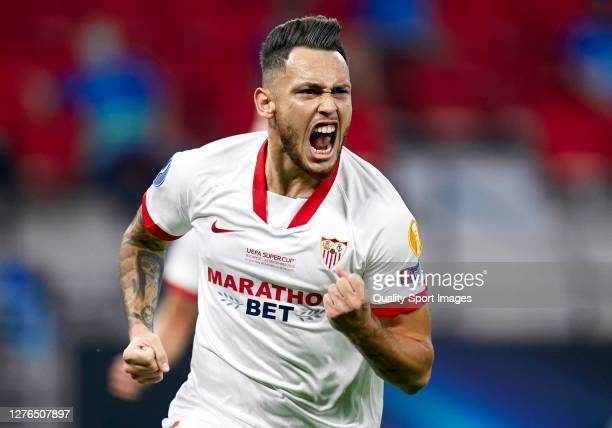 Lucas Ocampos of Sevilla FC celebrates after scoring his team's first goal during the UEFA Super Cup match between FC Bayern Munich and FC Sevilla at...