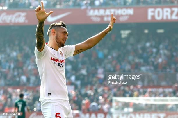 Lucas Ocampos of Sevilla FC celebrates after scoring the 10 during the Liga match between Sevilla FC and RCD Espanyol at Ramon Sanchez Pizjuan...