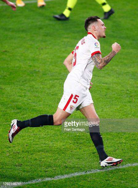 Lucas Ocampos of Sevilla FC celebrates after scoring their team's first goal during the La Liga Santander match between Sevilla FC and Real...
