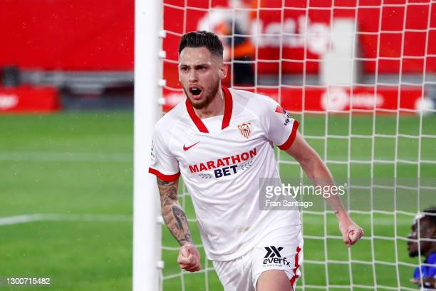 Lucas Ocampos of Sevilla FC celebrates after scoring their team's first goal which is later disallowed during the La Liga Santander match between...