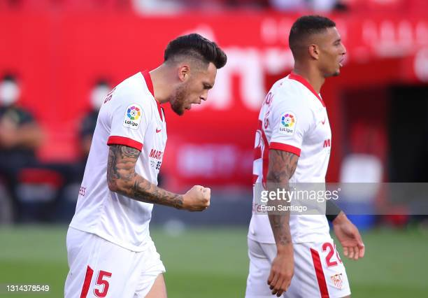 Lucas Ocampos of Sevilla FC celebrates after scoring their team's second goal during the La Liga Santander match between Sevilla FC and Granada CF at...