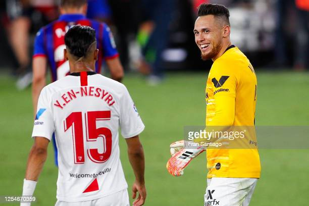 Lucas Ocampos of Sevilla FC celebrates at the end of the Liga match between Sevilla FC and SD Eibar SAD at Estadio Ramon Sanchez Pizjuan on July 06,...