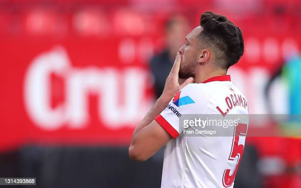 Lucas Ocampos of Sevilla FC celebrates scoring a goal during the La Liga Santander match between Sevilla FC and Granada CF at Estadio Ramon Sanchez...