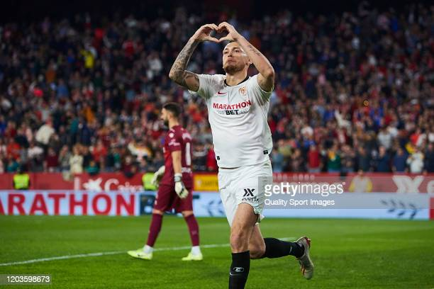 Lucas Ocampos of Sevilla FC celebrates scoring his team's opening goal during the Liga match between Sevilla FC and Deportivo Alaves at Estadio Ramon...
