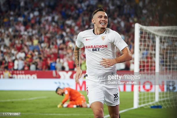 Lucas Ocampos of Sevilla FC celebrates scoring his team's second goal during the Liga match between Sevilla FC and Real Sociedad at Estadio Ramon...