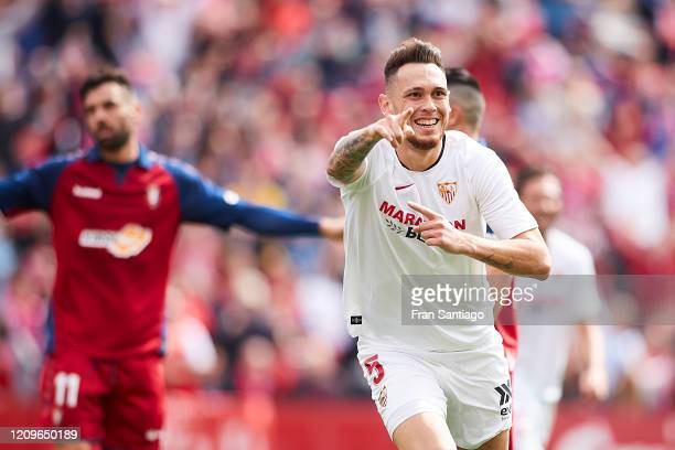 Lucas Ocampos of Sevilla FC celebrates scoring his team's second goal during the Liga match between Sevilla FC and CA Osasuna at Estadio Ramon...
