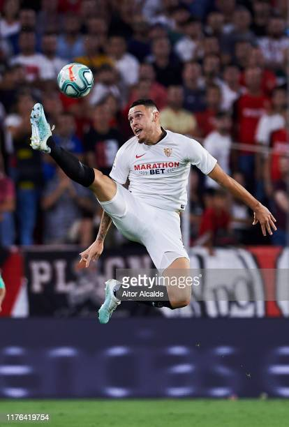 Lucas Ocampos of Sevilla FC controls the ball during the Liga match between Sevilla FC and Real Madrid CF at Estadio Ramon Sanchez Pizjuan on...