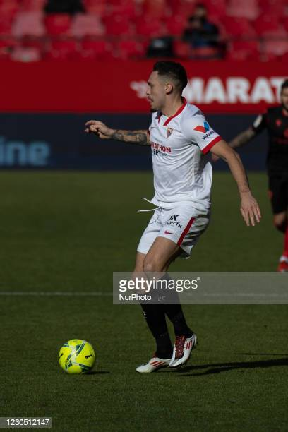 Lucas Ocampos of Sevilla FC during the La Liga match between Sevilla FC and Real Sociedad at Estadio Sanchez Pizjuan in Sevilla, Spain.