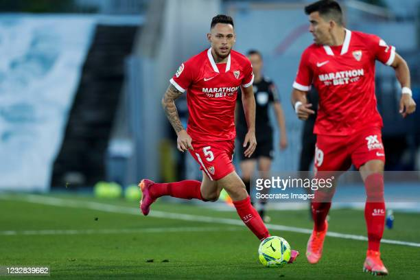Lucas Ocampos of Sevilla FC during the La Liga Santander match between Real Madrid v Sevilla at the Estadio Alfredo Di Stefano on May 9, 2021 in...