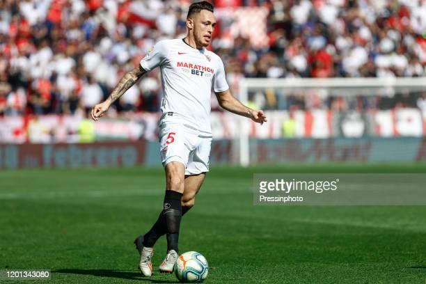 Lucas Ocampos of Sevilla FC during the Liga match between Sevilla FC and RCD Espanyol at Ramon Sanchez Pizjuan stadium on February 16 2020 in Sevilla...