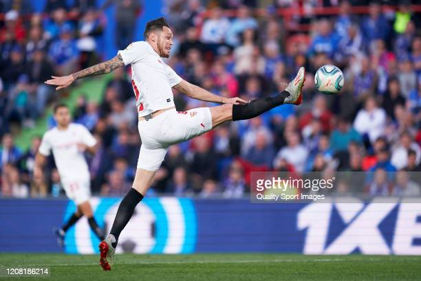 Lucas Ocampos of Sevilla FC in action during the La Liga match between Getafe CF and Sevilla FC at Coliseum Alfonso Perez on February 23 2020 in...
