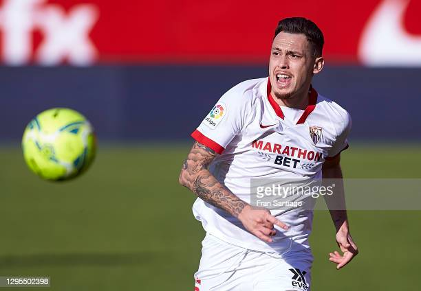 Lucas Ocampos of Sevilla FC in action during the La Liga Santander match between Sevilla FC and Real Sociedad at Estadio Ramon Sanchez Pizjuan on...