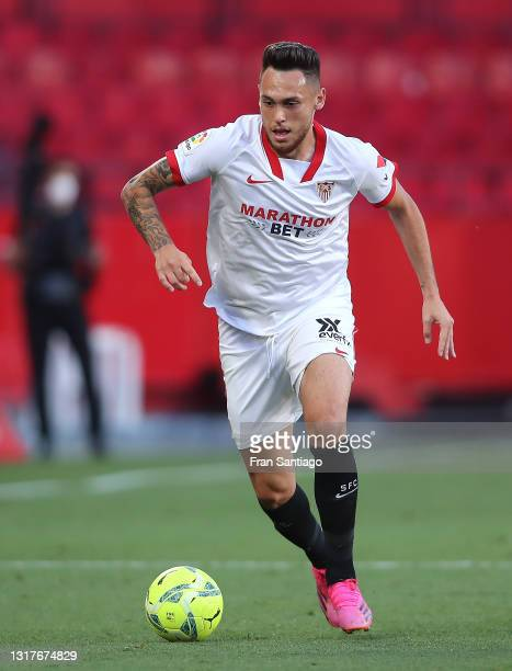 Lucas Ocampos of Sevilla FC in action during the La Liga Santander match between Sevilla FC and Valencia CF at Estadio Ramon Sanchez Pizjuan on May...