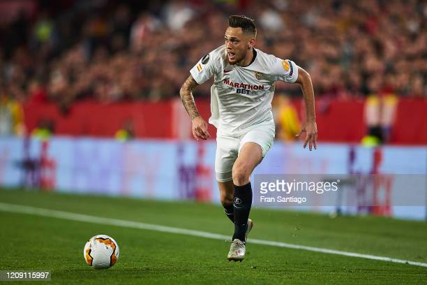 Lucas Ocampos of Sevilla FC in action during the UEFA Europa League round of 32 second leg match between Sevilla FC and CFR Cluj at Estadio Ramon...