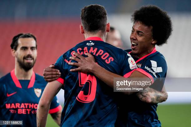Lucas Ocampos of Sevilla FC, Jules Kounde of Sevilla FC celebrates goal 0-1 during the Spanish Copa del Rey match between UD Almeria v Sevilla at the...