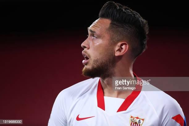 Lucas Ocampos of Sevilla FC looks on during the La Liga Santander match between Sevilla FC and Deportivo Alavés at Estadio Ramon Sanchez Pizjuan on...