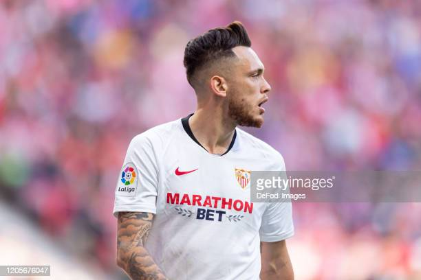 Lucas Ocampos of Sevilla FC looks on during the Liga match between Club Atletico de Madrid and Sevilla FC at Wanda Metropolitano on March 7 2020 in...