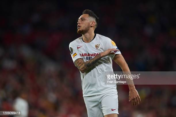 Lucas Ocampos of Sevilla FC reacts during the UEFA Europa League round of 32 second leg match between Sevilla FC and CFR Cluj at Estadio Ramon...