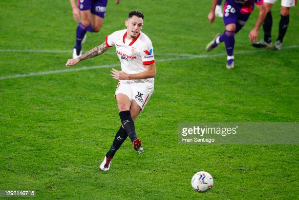 Lucas Ocampos of Sevilla FC scores their team's first goal from the penalty spot during the La Liga Santander match between Sevilla FC and Real...