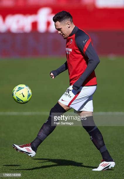 Lucas Ocampos of Sevilla FC warms up prior to the La Liga Santander match between Sevilla FC and Real Sociedad at Estadio Ramon Sanchez Pizjuan on...