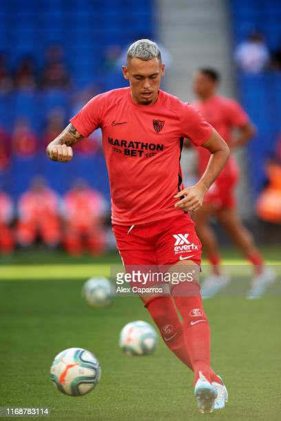 Lucas Ocampos of Sevilla FC warms up prior to the Liga match between RCD Espanyol and Sevilla FC at RCDE Stadium on August 18 2019 in Barcelona Spain