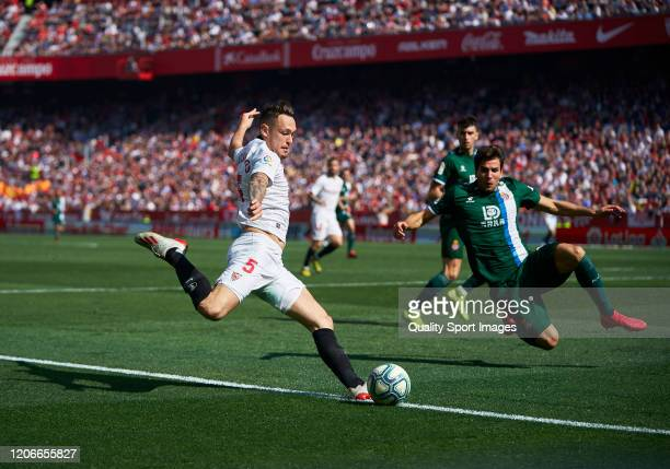Lucas Ocampos of Sevilla in action during the Liga match between Sevilla FC and RCD Espanyol at Estadio Ramon Sanchez Pizjuan on February 16 2020 in...