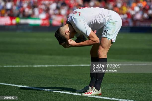 Lucas Ocampos of Sevilla reacts during the Liga match between Sevilla FC and RCD Espanyol at Estadio Ramon Sanchez Pizjuan on February 16 2020 in...