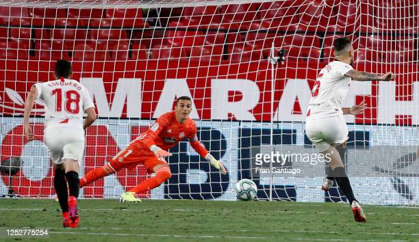 Lucas Ocampos of Sevilla scores from the penalty spot during the Liga match between Sevilla FC and Real Valladolid CF at Estadio Ramon Sanchez...
