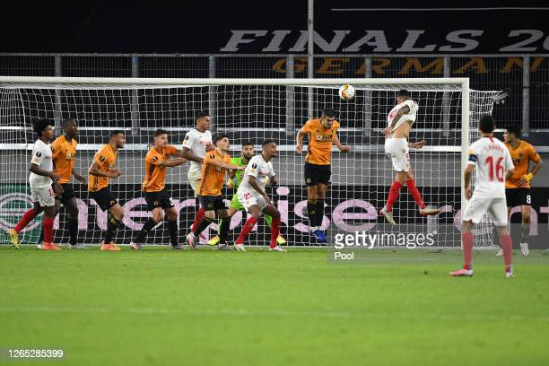 Lucas Ocampos of Sevilla scores his sides first goal during the UEFA Europa League Quarter Final between Wolves and Sevilla at MSV Arena on August 11...